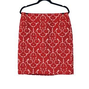 Talbots | Red Textured Damask Pencil Skirt 10P